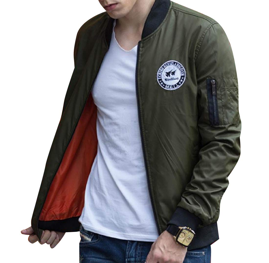 Doanpa Mens Badge Design Loose-Fit Pilot Jacket with Ribbing Edge