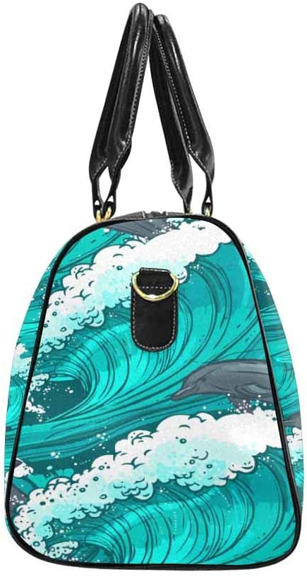 InterestPrint Waterproof Travel Bag Sports Duffel Tote Overnight Bag Ocean and Dolphins
