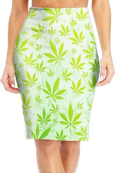 DAWN&ROSE Falda larga para mujer, diseño de hoja de cannabis ...