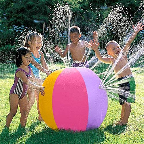 iYoYo 23.6 Inch Water Sprinkler Ball Inflatable Spray Ball Toy Beach Ball for Kids Outdoor Summer Ball Toy for Swimming Party Beach Pool Play, Colorful