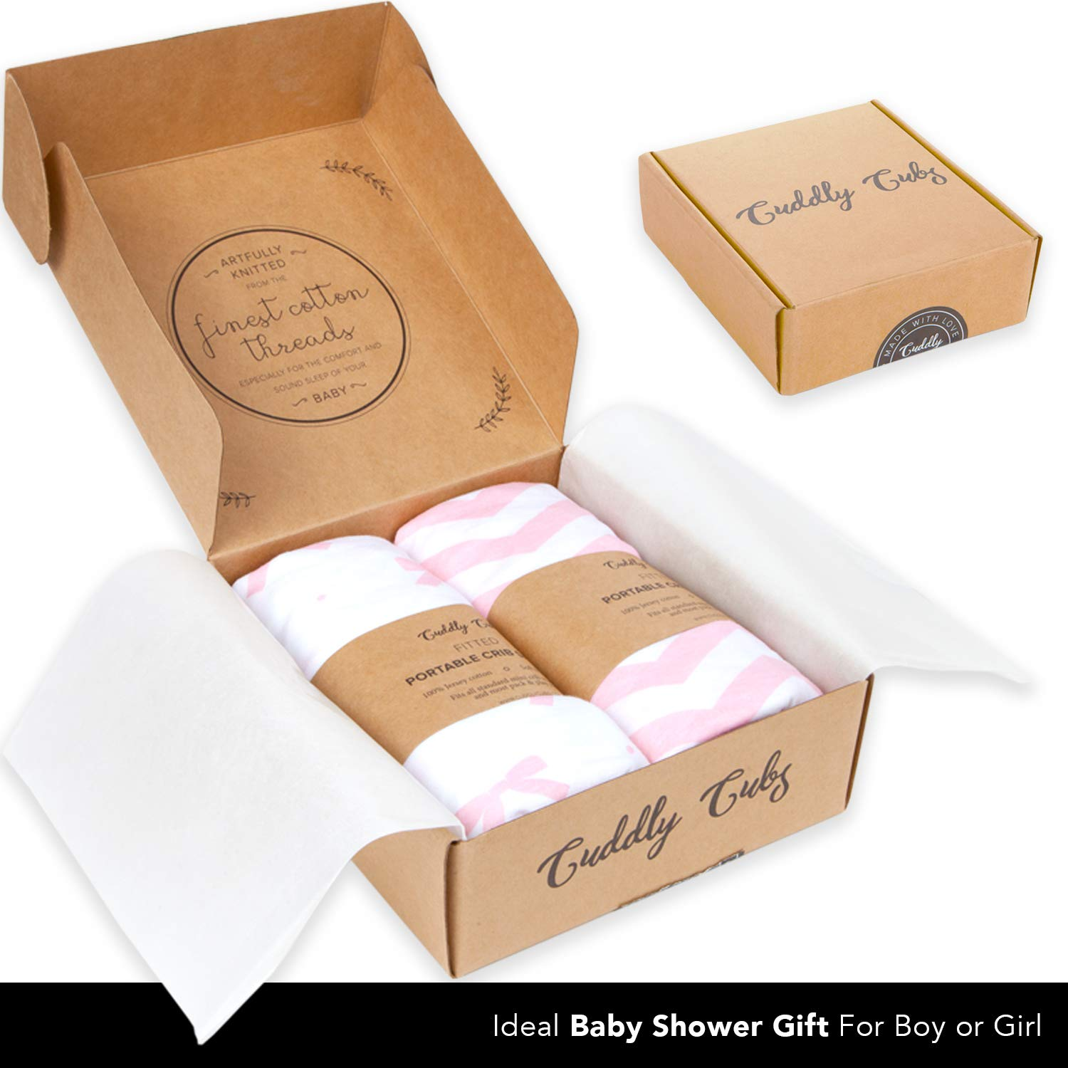 Cuddly Cubs Pack n Play Sheets | 2 Pack Playard Sheet for Baby Girl and Boy | 100% Jersey Cotton Unisex Mini Portable Crib Sheets | Bows and Chevron in Grey and Pink | Fits Graco, Joovy & Others by Cuddly Cubs (Image #4)
