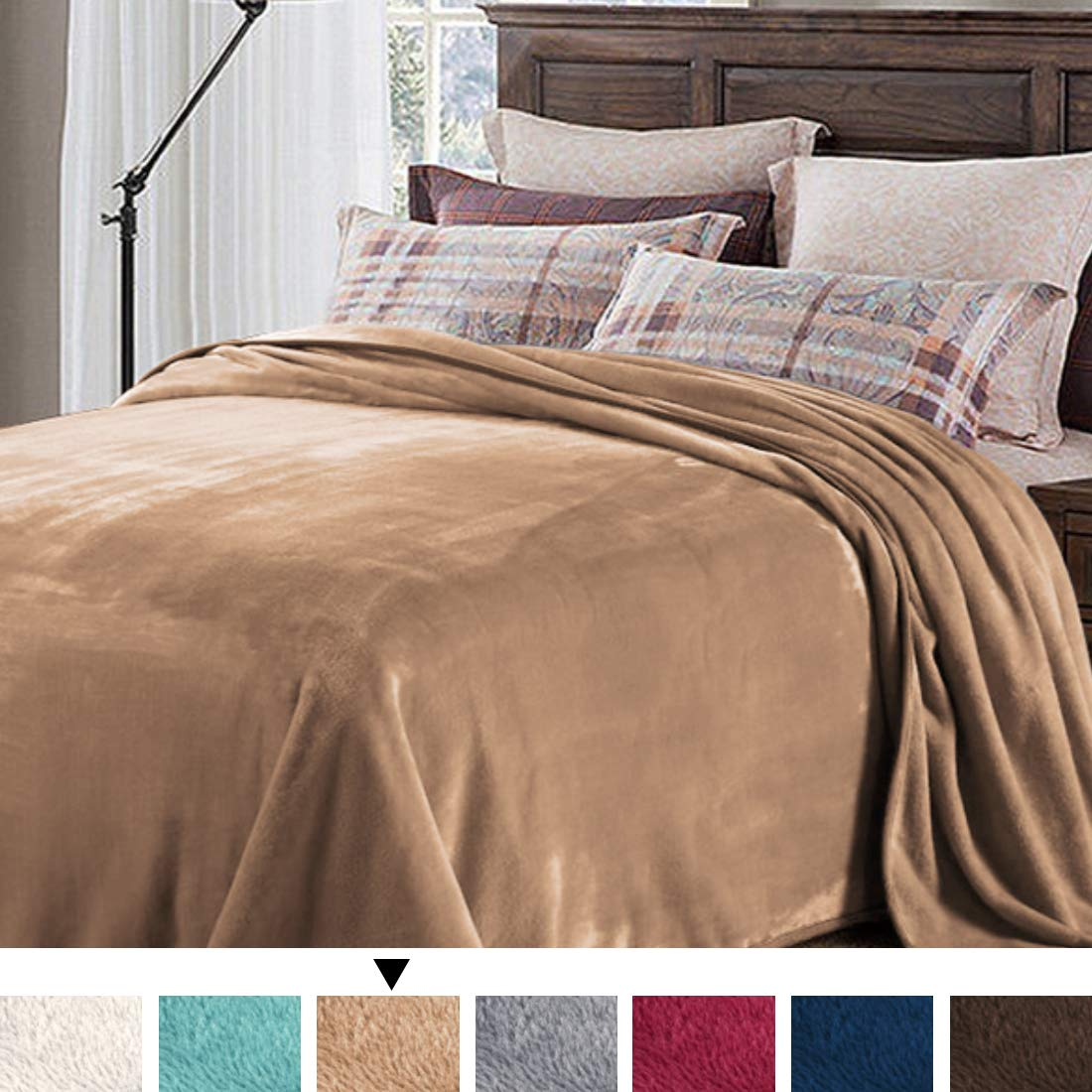 H.VERSAILTEX Flannel Queen Size Fleece Blanket (90'' x 90'', Camel) - Extra Soft Brush Fabric Super Warm Bed Blanket Couch Blankets and Throws Oversized for Household/Camping/Office