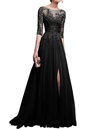 889d9090a5f DINGZAN Floor Length Lace and Tulle Wedding Guest Formal Dresses with Half  Sleeves 2 Black
