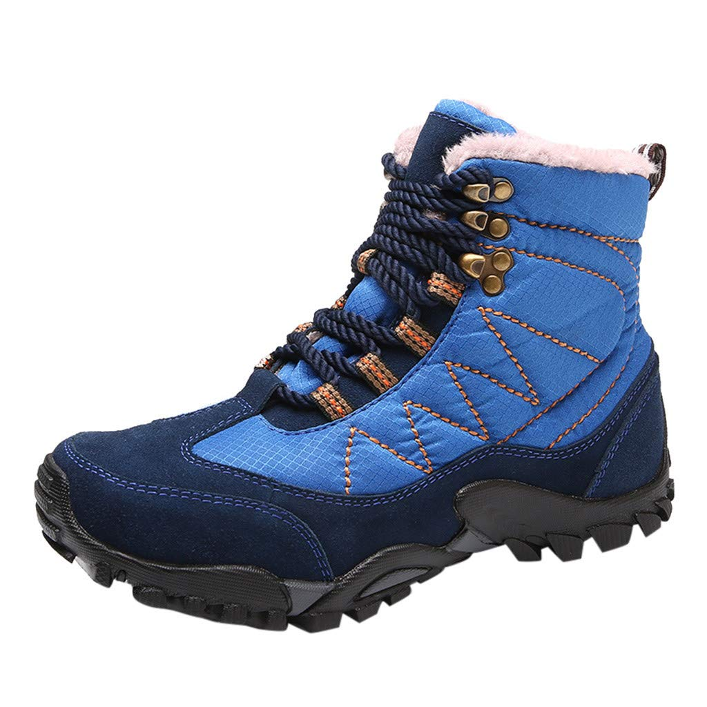 Men Boots Casual, HOSOME Men's Casual Outdoor Tube Velvet Wear Non-Slip Tooling Military Breathable Boots Blue by HOSOME Men Shoes
