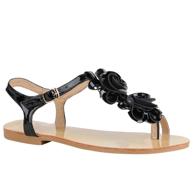 Stiefelparadies Damen Sandalen Zehentrenner mit Blockabsatz Flandell  36 EU|Schwarz Lack Blumen
