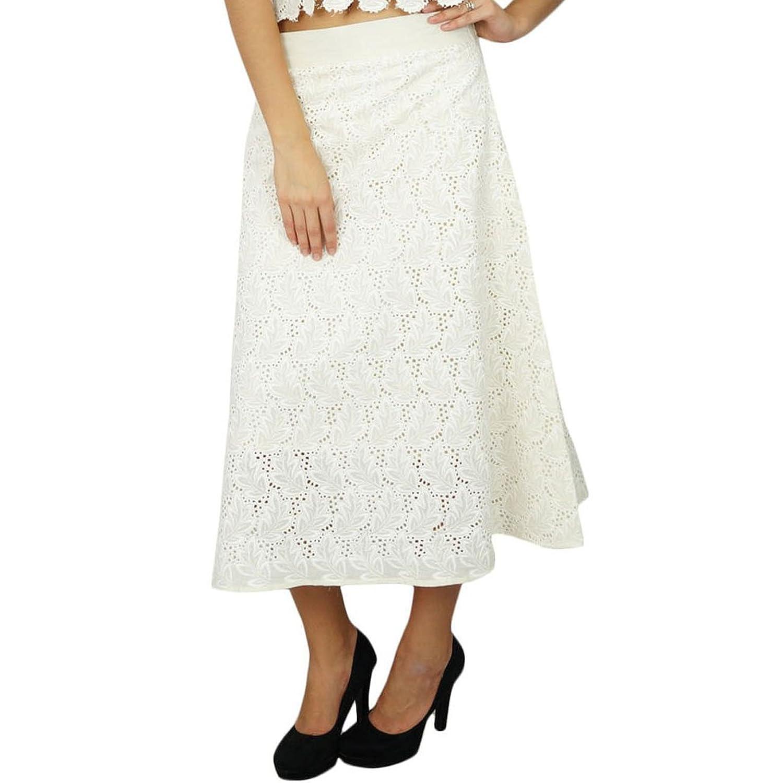 bimba Frauenbaumwoll weißen Rock indian Chikan Stickerei A-Linie Röcke