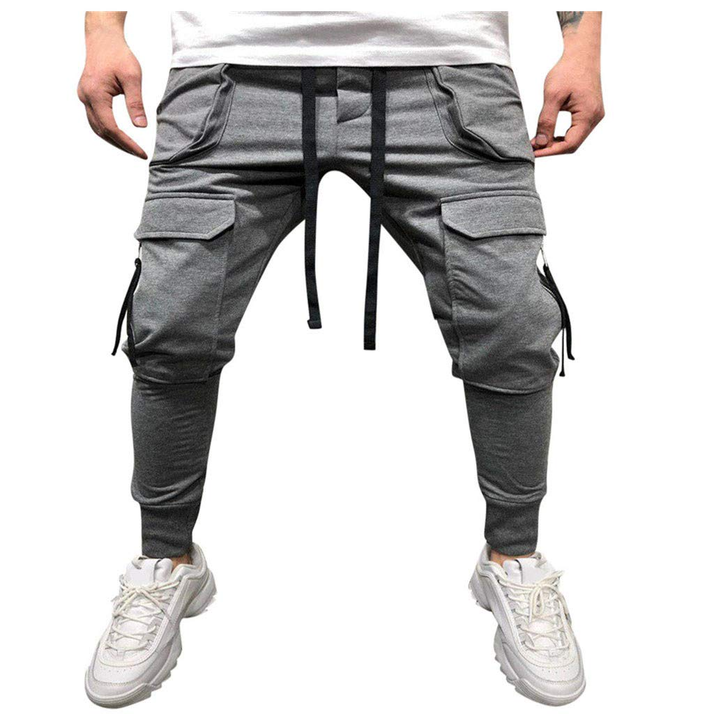 Allywit Men's Jogger Sweatpants Workout Running Slim Fit Sports with Pocket Trousers for Gym Training Gray