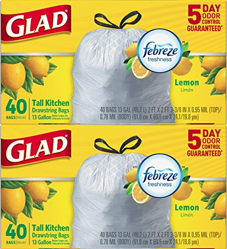 Glad Odorshield Tall Kitchen Drawstring Trash Bags, Lemon, 13 gal, 40 Count, (Pack of 2)