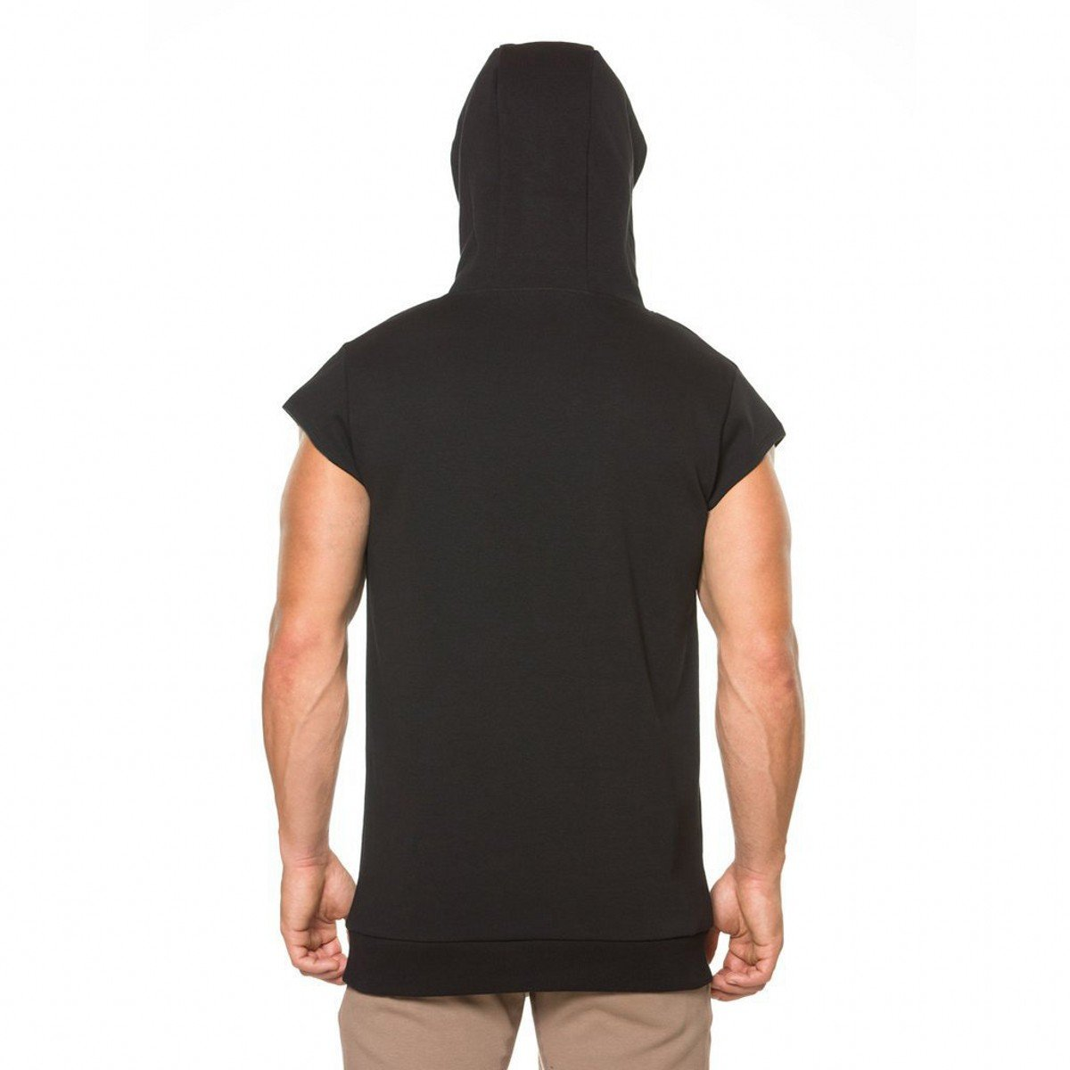 Coconut Ropamo CR Mens Hooded Sleeveless Vest Tank Hoodies Workout Fitted Muscle Slim Fit Hoody Pockets with Zipper