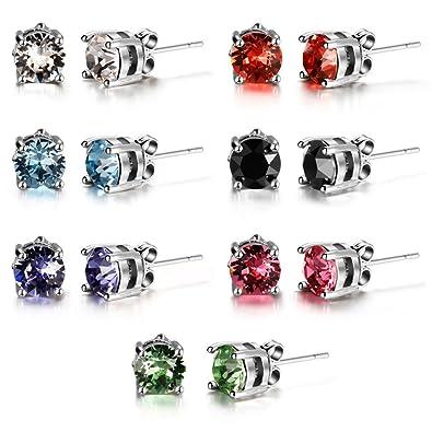 Murtoo Colorful Swarovski Crystal Stud Earrings, Four Claw Swarovski Element Colorful Crystal Stud Earrings Set Gift for Mum