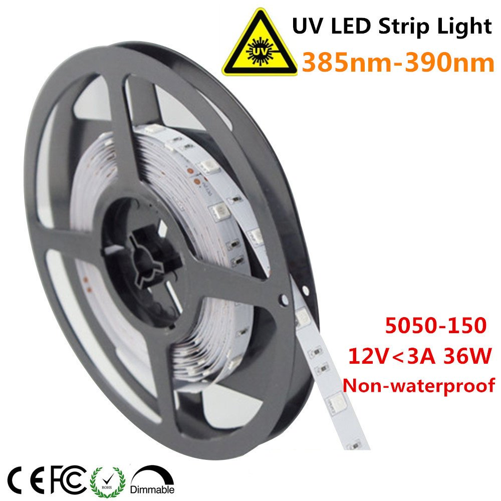 LightingWill Ultraviolet LED Strip, 385nm-390nm 16.4FT 36W 5M 12V SMD5050 150LEDs UV Ultraviolet Non-Waterproof Tri-chip 10mm White PCB Flexible LED Strips 30LEDs/M 7.2W/M, for UV Curing, Metal Crack