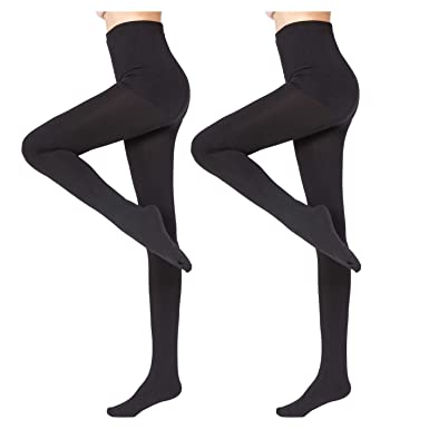 6a3d79283 2 Pairs Women Winter Thick Warm Fleece Lined Thermal Stretchy Pantyhose  Tights Black-S