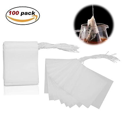 Wady 100 bolsas de filtro de té de hierbas para bolsas de té ...