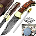 Mahroon Dollar Sheet Wood 6.5'' Handmade Damascus Steel Brass Bloster Folding Pocket Knife Back Lock 100% Prime Quality