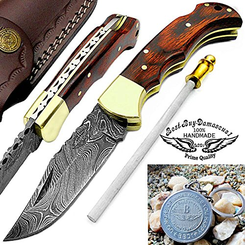 "Mahroon Dollar Sheet Wood 6.5"" Handmade Damascus Steel Brass Bloster Folding Pocket Knife Back Lock 100% Prime Quality"