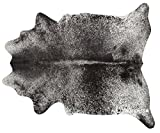 ecowhides Black Salt and Pepper Brazilian Cowhide Area Rug, Cowskin Leather Hide for Home Living Room (XXL) 8 x 7 ft