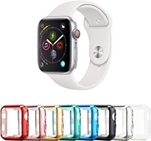 Tranesca 8 Pack 38mm Apple Watch case with Built-in HD Clear Ultra-Thin TPU Screen Protector Cover for Apple Watch Series 2 and Apple Watch Series 3 (Clear+Black+Gold+Rose Gold+Red+Blue+Green+Silver)