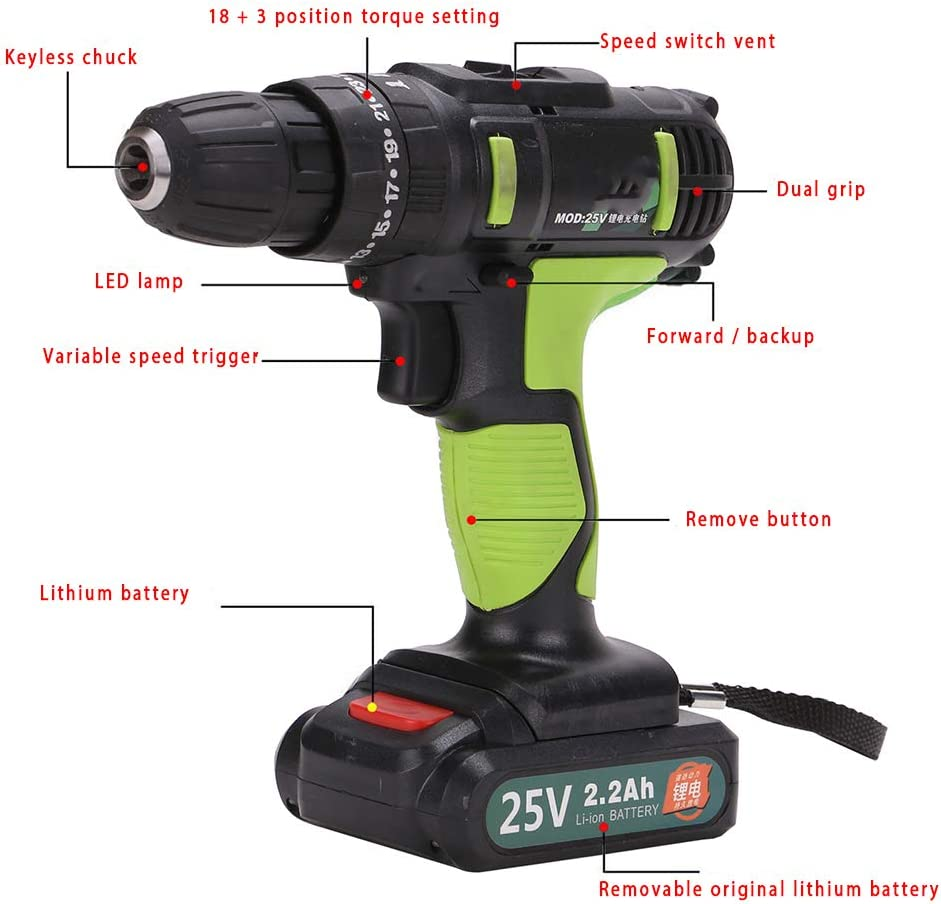 Shoze 25V Cordless Combi Drill Impact Driver LED Worklight Screwdriver Lithium Ion Battery Professional Industrial Cordless Drill