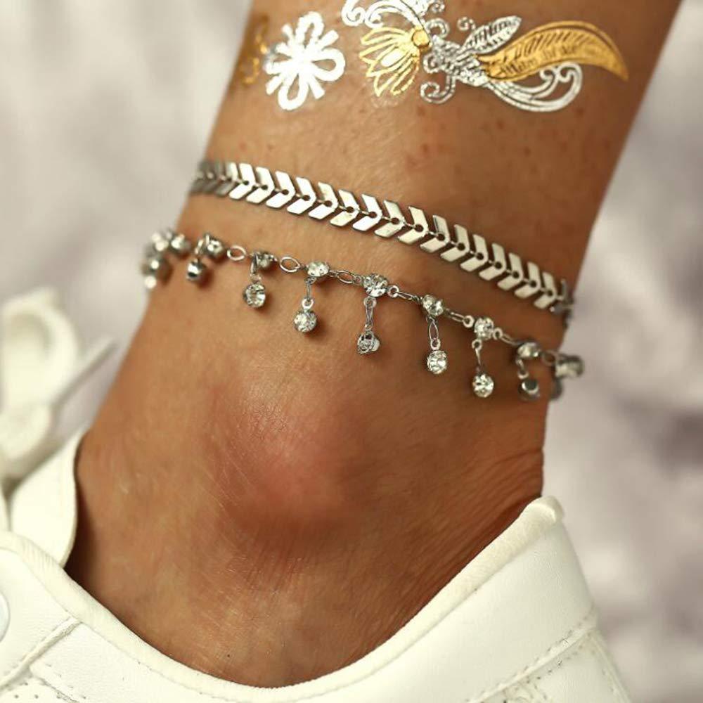 dise/ño de avi/ón creativo Juego de 2 tobilleras de plata con diamantes de imitaci/ón para mujer