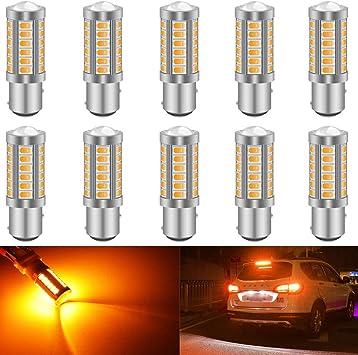 2PCS 12V BA15S 1156 5630 33SMD LED Car Turn Signal Backup Lights 6500K Amber