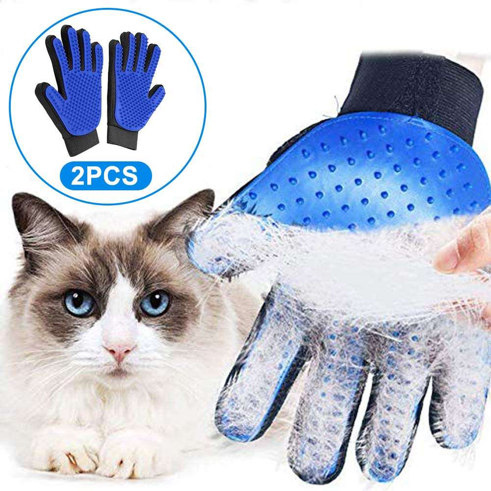 talever Pet Soft Silicone Dog Pet Brush Pet Glove Dog Grooming Brush Hair Remover Glove Pet Glove Cat Combs Hair Brush (Blue)