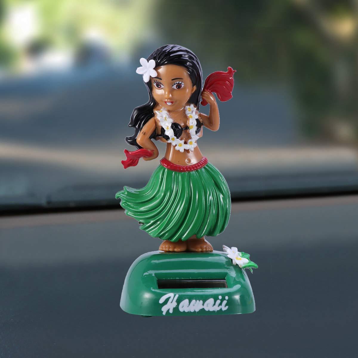 Amosfun Hula Girl Bobble Head Energia Solare Hawaiana Hula Shaking Head Dancing Toy Statuetta di Bambola per Interni Auto Decorazioni Ornamentali Motivo Verde