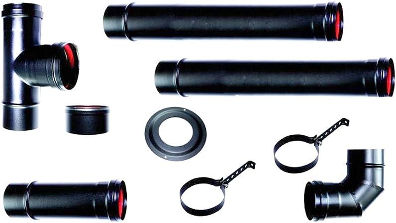Kit de tubos de evacuación de humo para la instalación de estufas de pellets, acero esmaltado, negro, cód. SMKIT080: Amazon.es: Bricolaje y herramientas