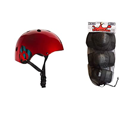 SixSixOne 661 Dirt Lid Plus Skate BMX Helmet Red CPSC with Knee Elbow Wrist Pads Medium : Sports & Outdoors