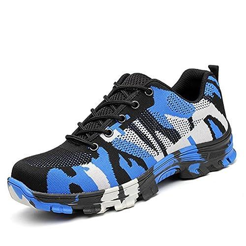 Calzado de Trabajo Hombre Mujer Zapatillas de Seguridad con Puntera de Acero Antideslizante Transpirables Unisex Azul