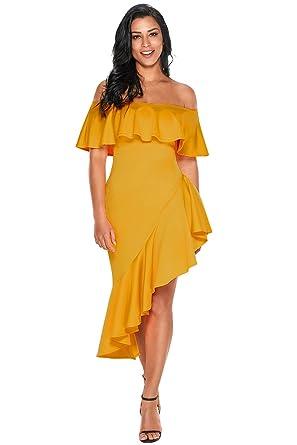 Evercloths Women Western Wear Asymmetric Ruffle Off Shoulder Dress  (Yellow Large) a4c7aa875