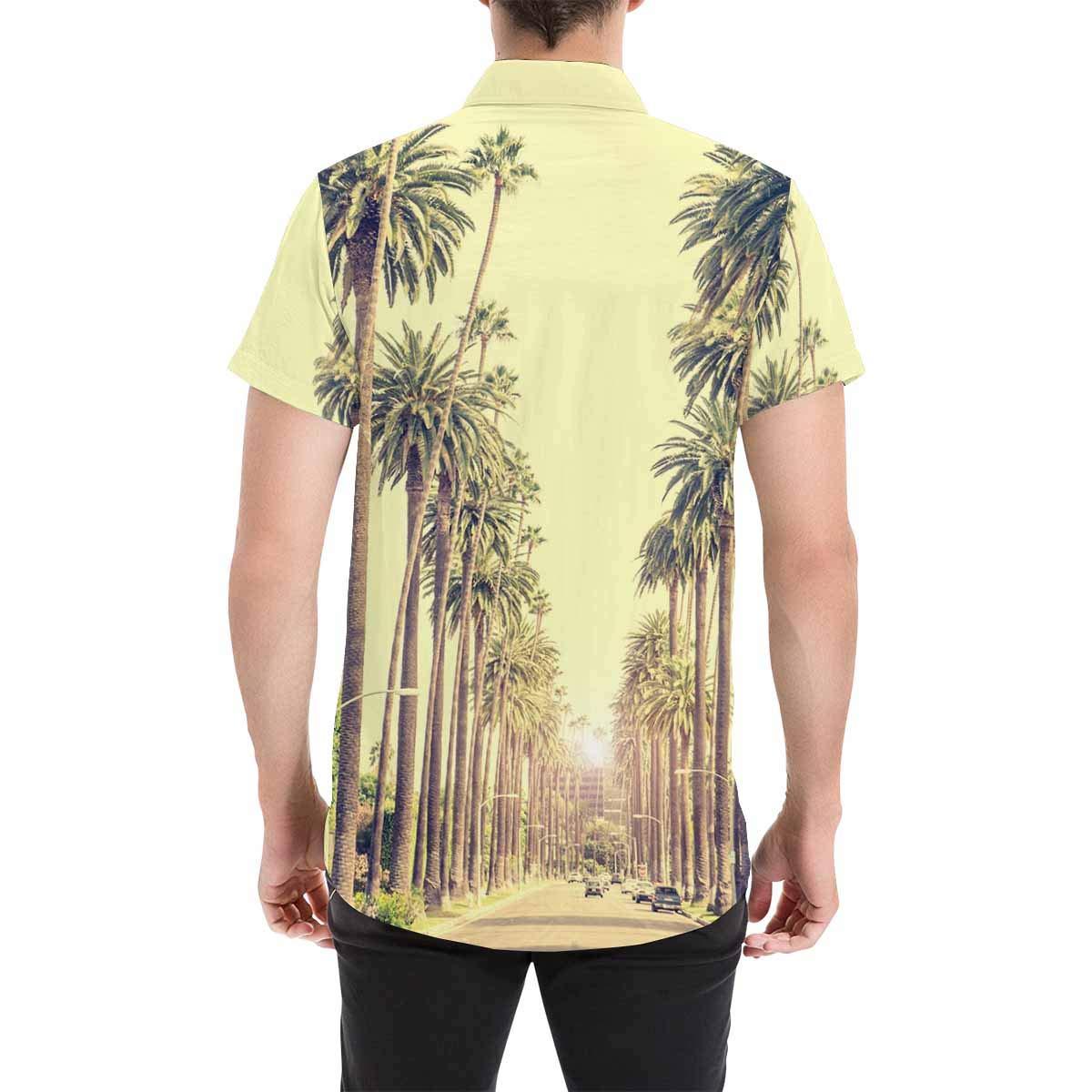 InterestPrint Mens Button Down Beach Sand Palms and Waves Print Casual Shirt Short Sleeve Shirts