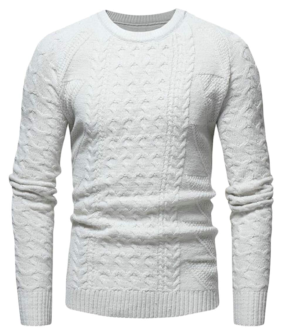 Hokny TD Mens Cable Knitted Pullover Crew Neck Long Sleeve Light Weight Sweaters