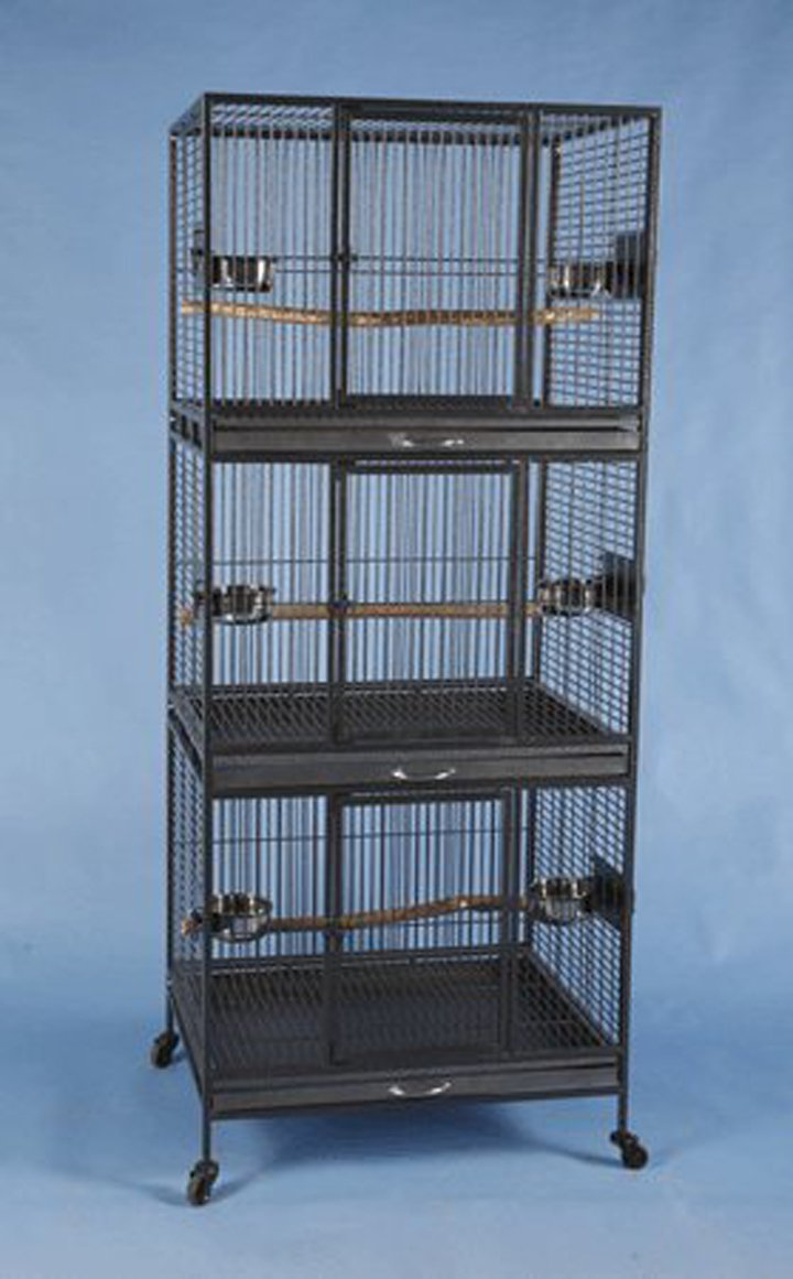 Three Tier Stackable Multiple Bird Parrot Animal Pet Cage - 30'' X 24'' X 73''H- Black Vein