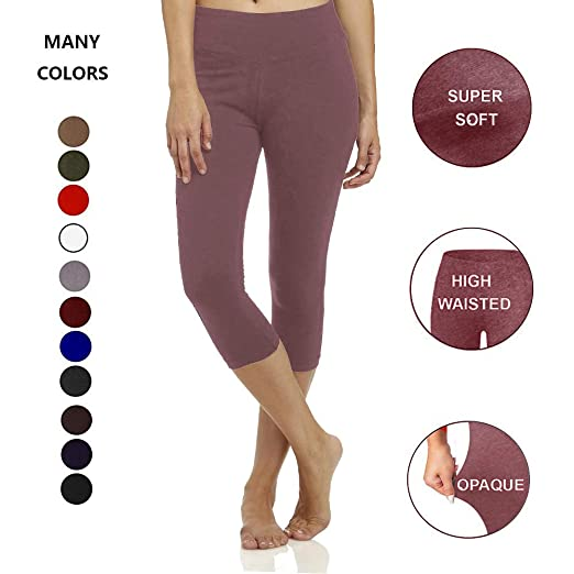 483b005ffa5fbf Image Unavailable. Image not available for. Color: High Waisted Soft Capri  Leggings for Women-Tummy Control-One/Plus Size 20