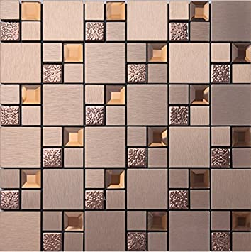 Glänzende 5 Facetten Diamant Glas Mix Metall Self Stick Mosaik Fliesen Für  Wand, Aluminium