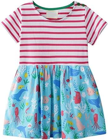 Vestido de verano lindo de las niñas Raya de niña impresa vestido de camisa de algodón