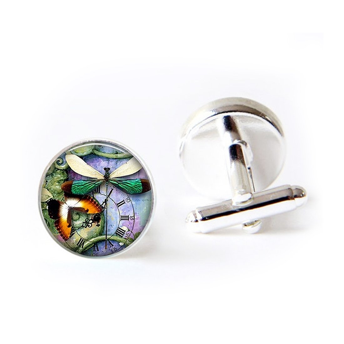 JEANCZ Jewelry Stainless Cufflinks Vintage Pattern ButterfliesClassic Tuxedo Shirt Cufflinks Elegant Storage Display Box LCZ0124-BSSLY-SL-LSZBS-0242