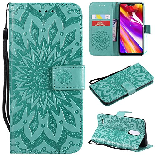 NOMO LG K30 Case with Screen Protector,LG Premier Pro LTE Wallet Case,LG K10 2018 Flip Case PU Leather Emboss Mandala Sun Flower Folio Magnetic Kickstand Cover with Card Slots for LG K30 Green