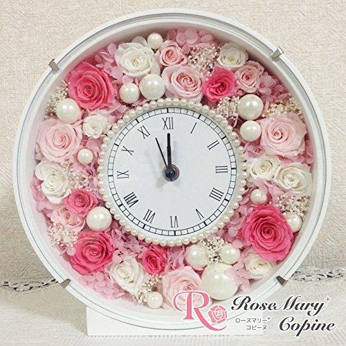 プリザーブドフラワー パール花時計 afcp-ピンク B01ANRPGQ2  ピンク