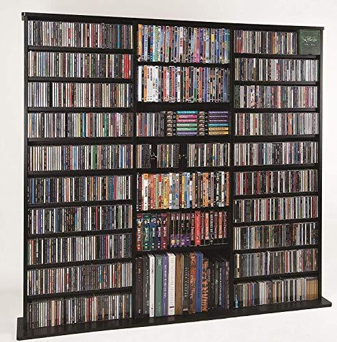 Leslie Dame High Capacity Oak Veneer Multimedia Cabinet, Black