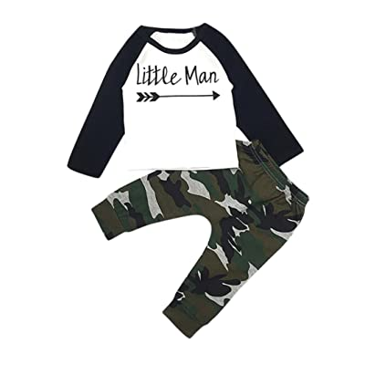 Featurestop Baby Clothing Pant Sets Lovely Toddler Kids Boy Letter T Shirt Tops+Camouflage Pants Outfits Clothes