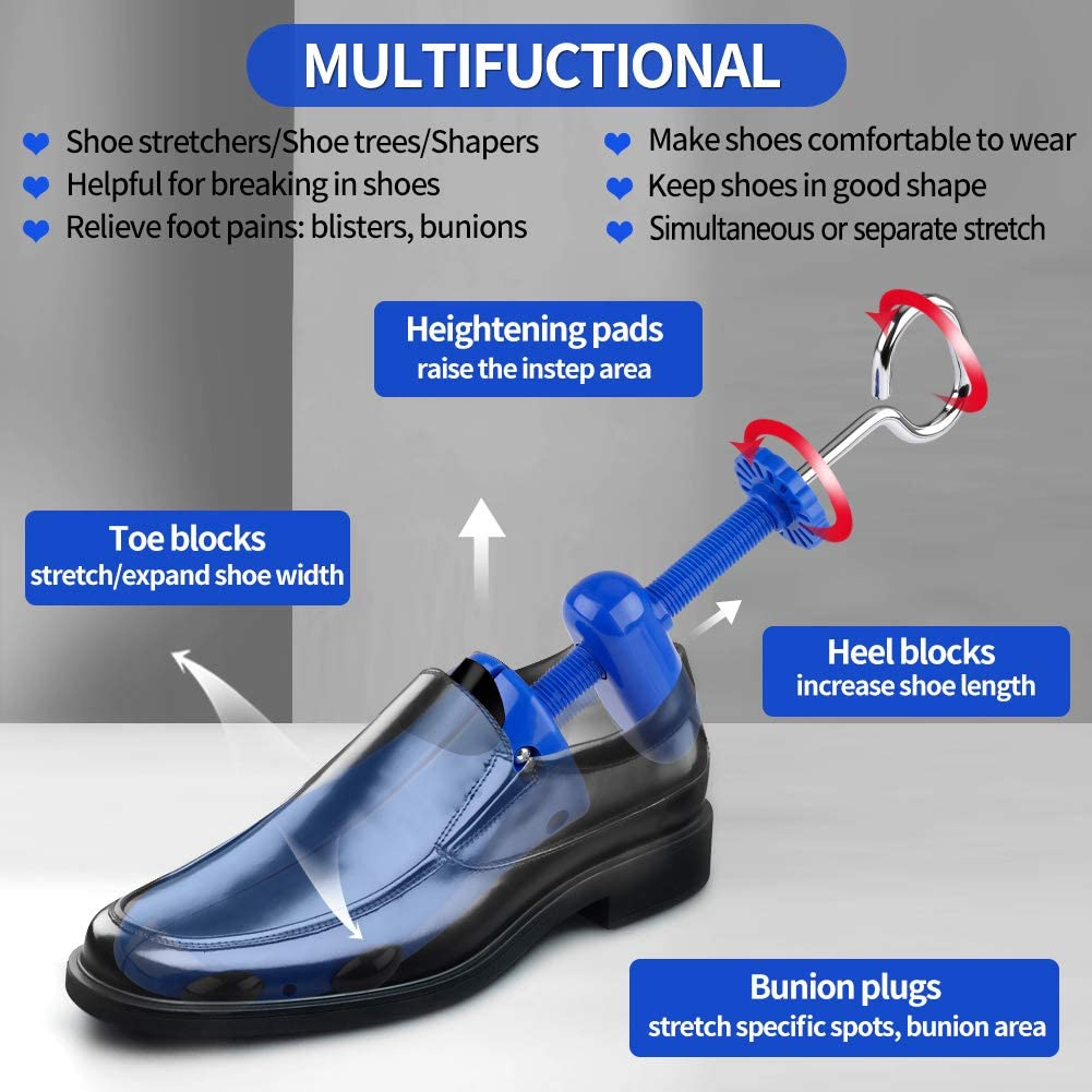 Shoe Stretcher Pair 4-way Shoe Expander Widener Shoe Tree Extender for Wide Feet
