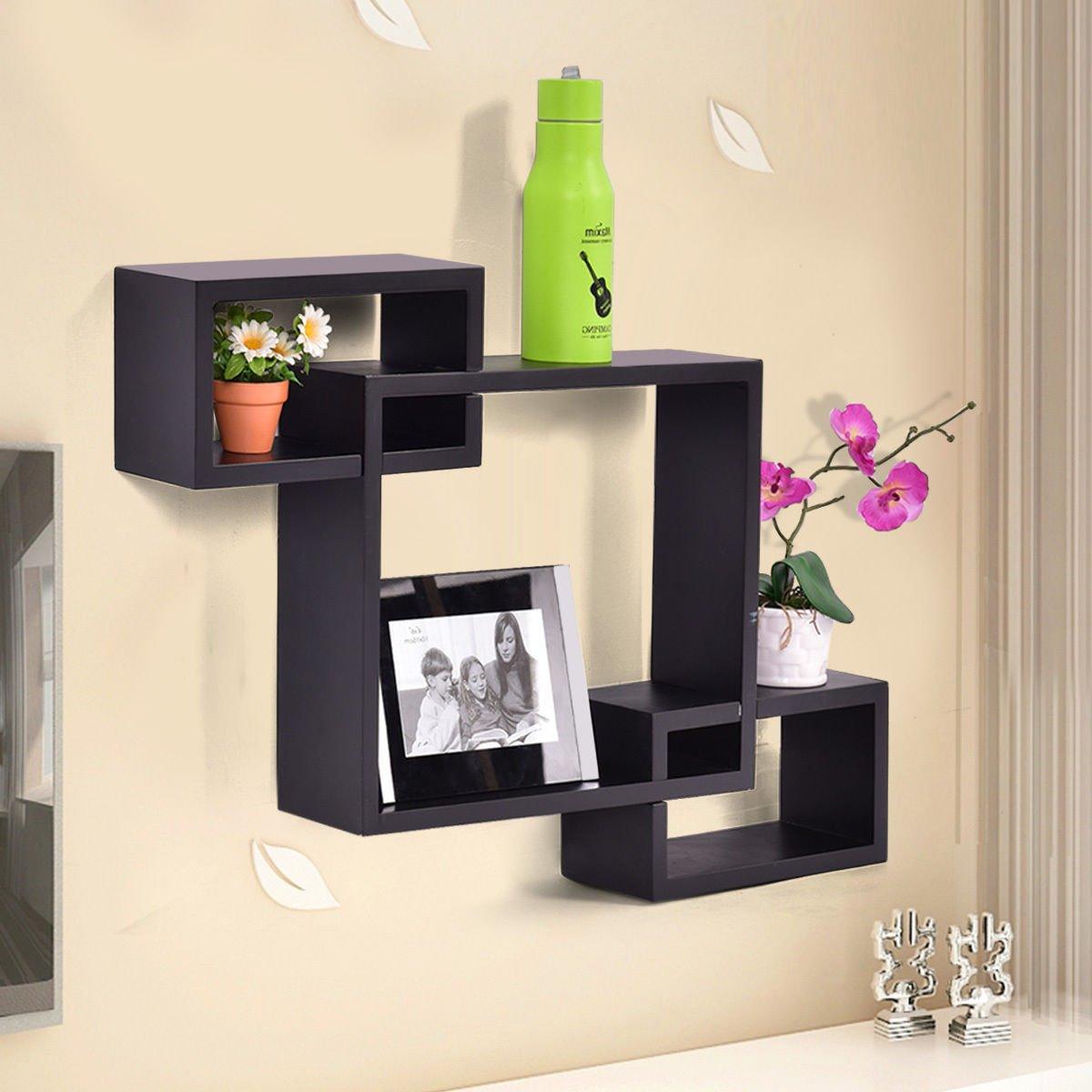 Amazon Black Intersecting 3 Rect Boxe Floating Shelf Wall