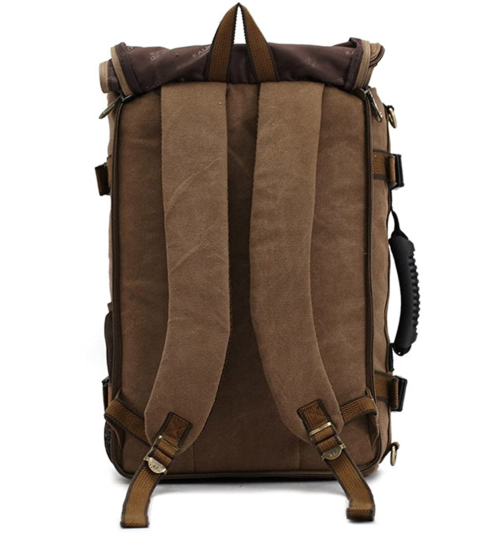 UNbox Khaki Premium Canvas Multi-Use Hiking Travel Backpack Daypack