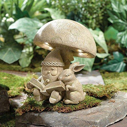 Lighted Gnome Reading To Bunny Resin Garden Sculpture Home Decor Sculptures
