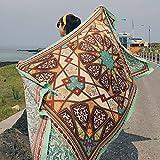 SUNBABY Women Boho Shawl Beach Towels Rectangle Polyester Scarf Travel Sarong Wrap Swimwear Cover Up Beach Mats (Green Geometry)