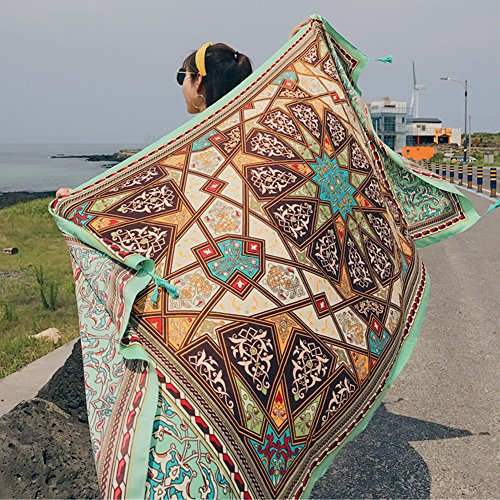 - SUNBABY Women Boho Shawl Beach Towels Rectangle Polyester Scarf Travel Sarong Wrap Swimwear Cover Up Beach Mats (Green Geometry)