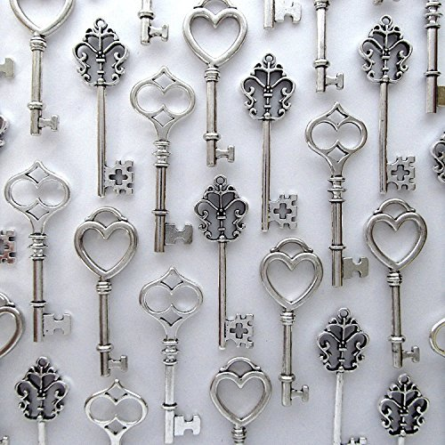 Mixed 30PCS Key Set, Antique Skeleton Keys, Vintage Steam Punk Keys, Castle Dungeon Pirate Keys for Birthday Party Favors, Mini Treasure Toy Gifts, Medieval Middle Ages Theme, Juliet (Silver)