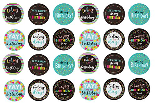 Button Ribbon Pinback - Pinback Buttons - 24-Pack Party Button Pins, Birthday Party Pins in Assorted Designs and Colors, 2.25-inch Diameter