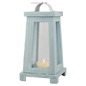 Stonebriar Coastal Worn Blue Wooden Candle Lantern, Nautical Home Decor, For Table Top or Wall Hanging Display, Can Be Used Indoor or Outdoor